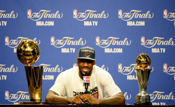 LBJ with trophy