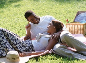 couple on picnic 300x221 It is adjacent to large grassy area, perfect for games.