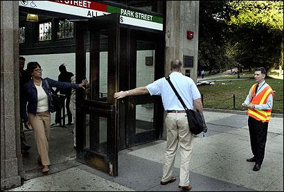 man holding door