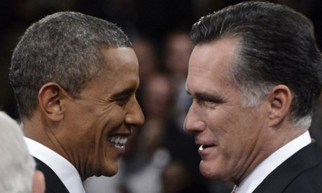Barack Obama and Mitt Romney at last presidential debate.