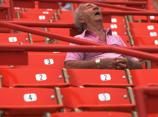 Old Guy Sleeping in Stadium