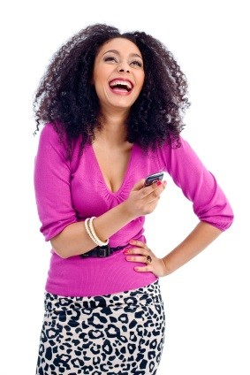 black girl long curly hair cell phone