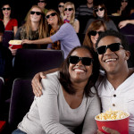 Real People Audience: Group Black Couple Watching Movie Theater 3D