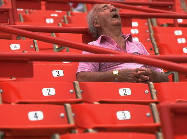 Old Guy Sleeping in Stadium